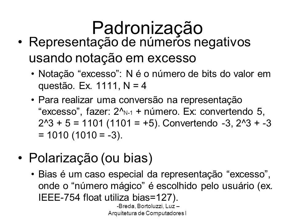 -Breda, Bortoluzzi, Luz – Arquitetura de Computadores I Padronização Representação de números negativos usando notação em excesso Notação excesso: N é