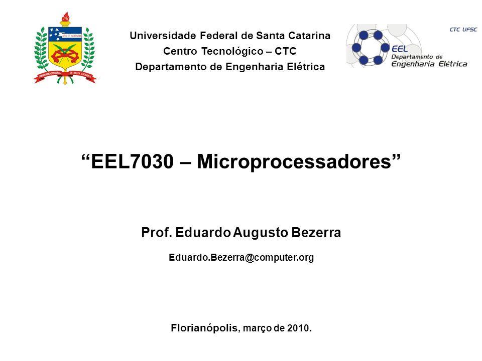 EEL7030 – Microprocessadores 142/143 Limitações Compilador Ineficiente /* pulses pin PORTB eight times */ 0000: movlw 0x8 0001: movwf 0x20 0002: bsf 0x6,0x3 0003: bcf 0x6,0x3 0004: decfsz 0x20 /* pulses pin PORTB eight times */ 0005: CLRF 21 0006: MOVF 21,W 0007: SUBLW 07 0008: BTFSS 03,0 0009: GOTO 014 000A: BSF 03,5 000B: BCF 06,3 000C: BCF 03,5 000D: BSF 06,3 000E: BSF 03,5 000F: BCF 06,3 0010: BCF 03,5 0011: BCF 06,3 0012: INCF 21,F 0013: GOTO 006 Assembly gerado pelo compilador Assembly escrito pelo desenvolvedor