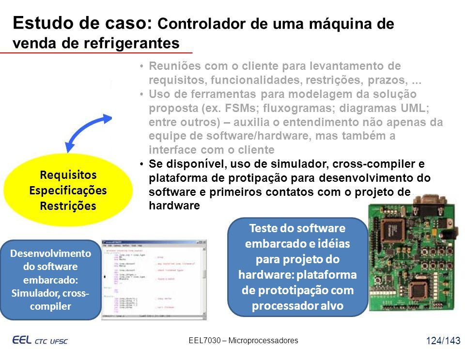 EEL7030 – Microprocessadores 124/143 Requisitos Especificações Restrições Reuniões com o cliente para levantamento de requisitos, funcionalidades, restrições, prazos,...