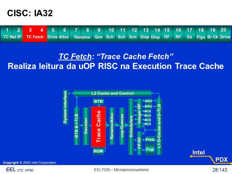 EEL7030 – Microprocessadores 28/143 CISC: IA32 TC Fetch: Trace Cache Fetch Realiza leitura da uOP RISC na Execution Trace Cache