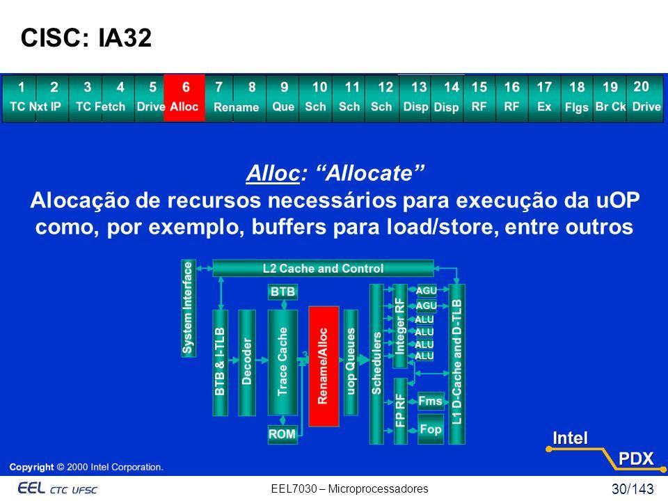 EEL7030 – Microprocessadores 30/143 CISC: IA32 Alloc: Allocate Alocação de recursos necessários para execução da uOP como, por exemplo, buffers para load/store, entre outros