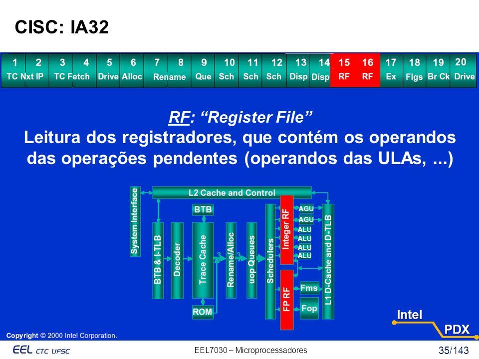EEL7030 – Microprocessadores 35/143 CISC: IA32 RF: Register File Leitura dos registradores, que contém os operandos das operações pendentes (operandos das ULAs,...)