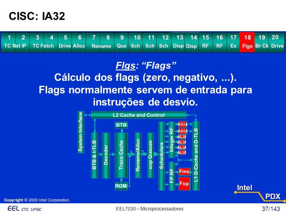 EEL7030 – Microprocessadores 37/143 CISC: IA32 Flgs: Flags Cálculo dos flags (zero, negativo,...).