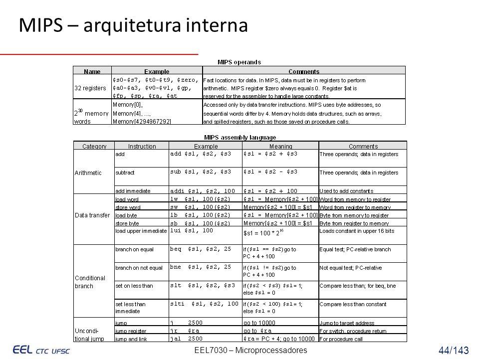 EEL7030 – Microprocessadores 44/143 MIPS – arquitetura interna