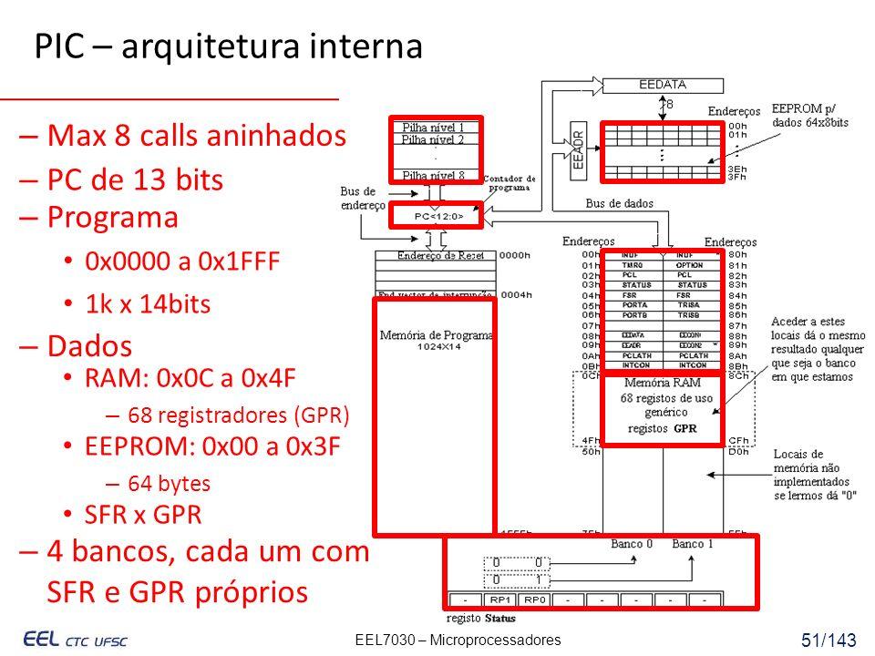 EEL7030 – Microprocessadores 51/143 PIC – arquitetura interna – PC de 13 bits – 4 bancos, cada um com SFR e GPR próprios – Max 8 calls aninhados SFR x GPR RAM: 0x0C a 0x4F – 68 registradores (GPR) – Dados – Programa 0x0000 a 0x1FFF 1k x 14bits EEPROM: 0x00 a 0x3F – 64 bytes