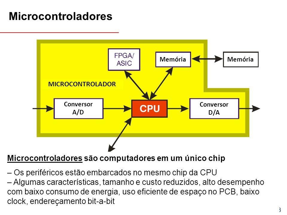 EEL7030 – Microprocessadores 66/143 Microcontroladores são computadores em um único chip – Os periféricos estão embarcados no mesmo chip da CPU – Algumas características, tamanho e custo reduzidos, alto desempenho com baixo consumo de energia, uso eficiente de espaço no PCB, baixo clock, endereçamento bit-a-bit Memória Conversor A/D Conversor D/A MICROCONTROLADOR Microcontroladores