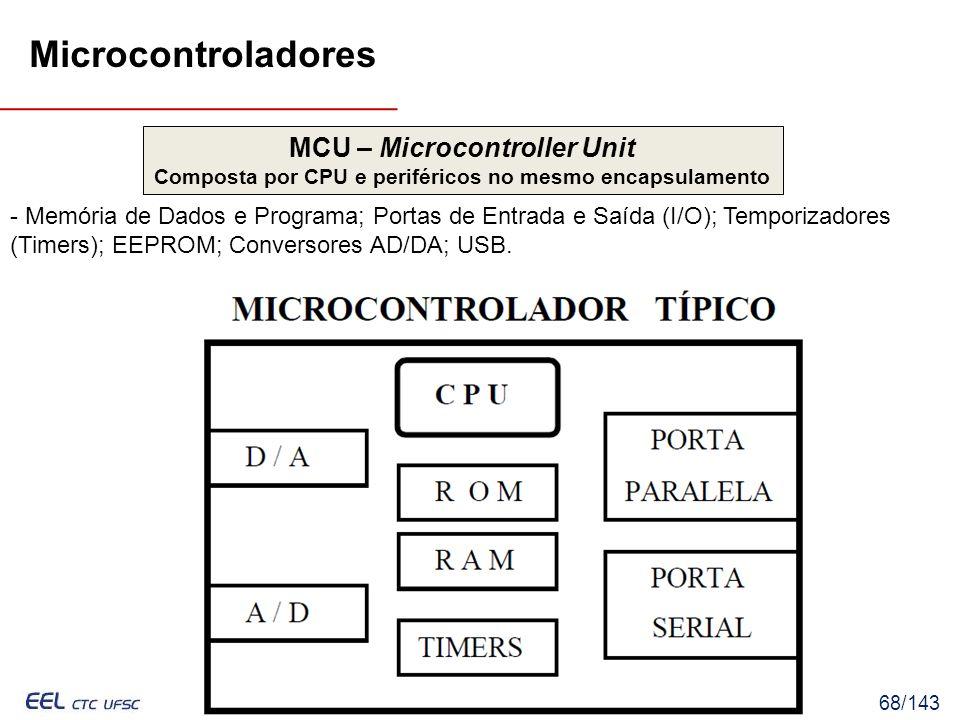 EEL7030 – Microprocessadores 68/143 - Memória de Dados e Programa; Portas de Entrada e Saída (I/O); Temporizadores (Timers); EEPROM; Conversores AD/DA; USB.