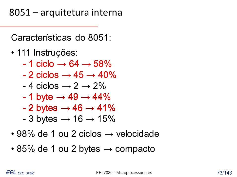 EEL7030 – Microprocessadores 73/143 Características do 8051: 111 Instruções: - 1 ciclo 64 58% - 2 ciclos 45 40% - 4 ciclos 2 2% - 1 byte 49 44% - 2 bytes 46 41% - 3 bytes 16 15% 98% de 1 ou 2 ciclos velocidade 85% de 1 ou 2 bytes compacto 8051 – arquitetura interna - 1 ciclo 64 58% - 2 ciclos 45 40% - 1 byte 49 44% - 2 bytes 46 41%