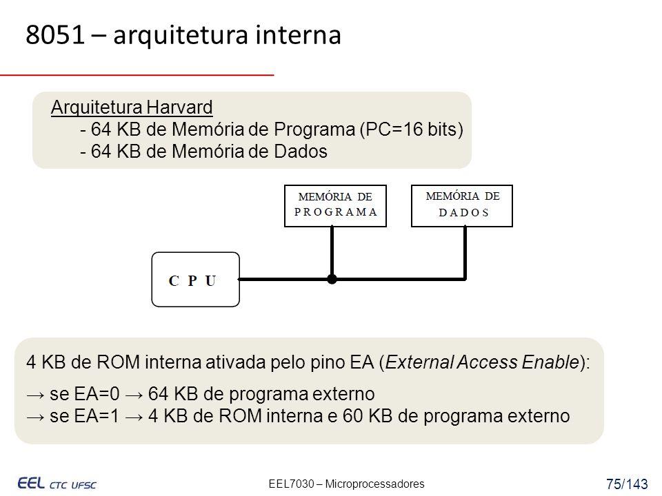 EEL7030 – Microprocessadores 75/143 4 KB de ROM interna ativada pelo pino EA (External Access Enable): se EA=0 64 KB de programa externo se EA=1 4 KB de ROM interna e 60 KB de programa externo 8051 – arquitetura interna Arquitetura Harvard - 64 KB de Memória de Programa (PC=16 bits) - 64 KB de Memória de Dados