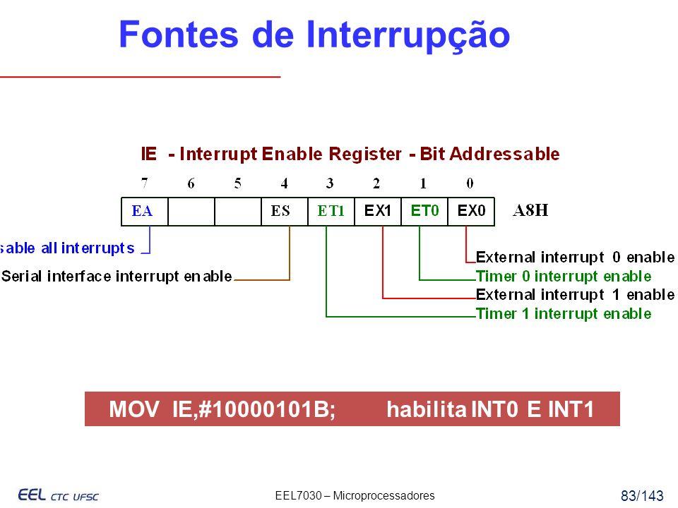 EEL7030 – Microprocessadores 83/143 Fontes de Interrupção MOV IE,#10000101B; habilita INT0 E INT1