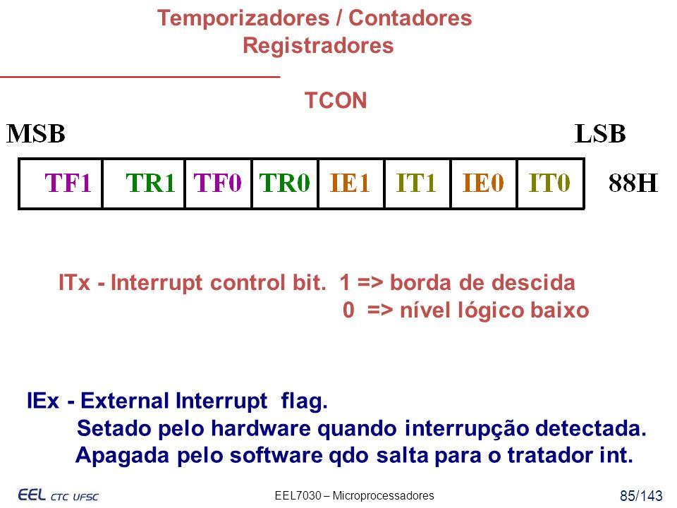 EEL7030 – Microprocessadores 85/143 Temporizadores / Contadores Registradores TCON IEx - External Interrupt flag.