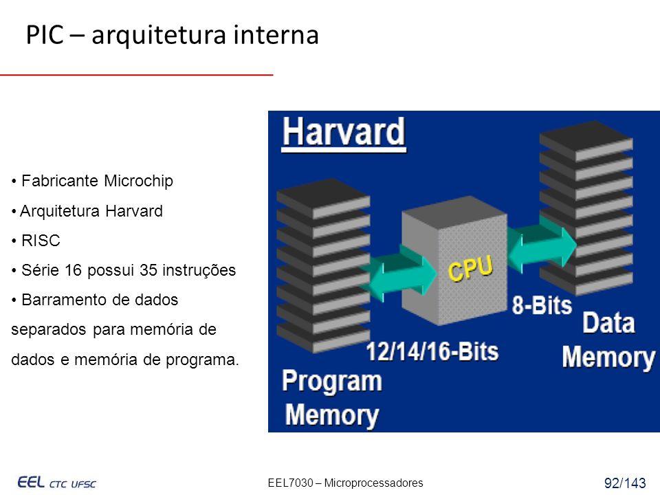 EEL7030 – Microprocessadores 92/143 Fabricante Microchip Arquitetura Harvard RISC Série 16 possui 35 instruções Barramento de dados separados para memória de dados e memória de programa.