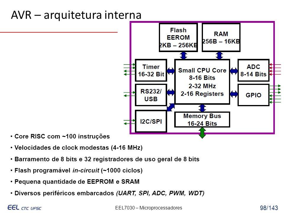 EEL7030 – Microprocessadores 98/143 Core RISC com ~100 instruções Velocidades de clock modestas (4-16 MHz) Barramento de 8 bits e 32 registradores de uso geral de 8 bits Flash programável in-circuit (~1000 ciclos) Pequena quantidade de EEPROM e SRAM Diversos periféricos embarcados (UART, SPI, ADC, PWM, WDT) AVR – arquitetura interna