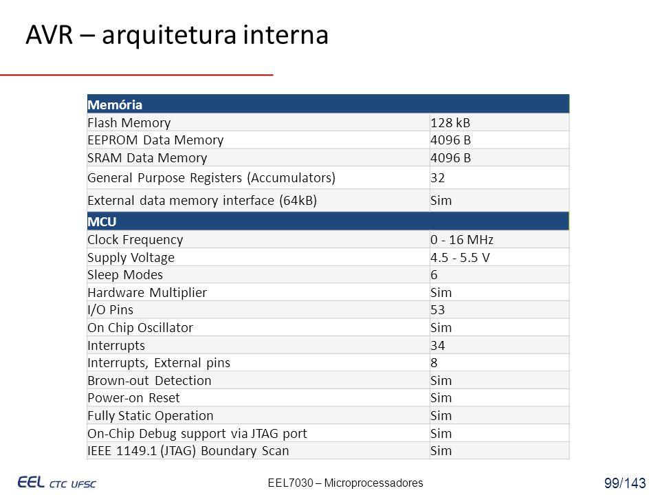 EEL7030 – Microprocessadores 99/143 Memória Flash Memory128 kB EEPROM Data Memory4096 B SRAM Data Memory4096 B General Purpose Registers (Accumulators)32 External data memory interface (64kB)Sim MCU Clock Frequency0 - 16 MHz Supply Voltage4.5 - 5.5 V Sleep Modes6 Hardware MultiplierSim I/O Pins53 On Chip OscillatorSim Interrupts34 Interrupts, External pins8 Brown-out DetectionSim Power-on ResetSim Fully Static OperationSim On-Chip Debug support via JTAG portSim IEEE 1149.1 (JTAG) Boundary ScanSim AVR – arquitetura interna