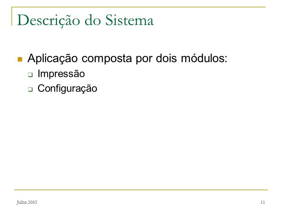 Julho 200511 Descrição do Sistema Aplicação composta por dois módulos: Impressão Configuração
