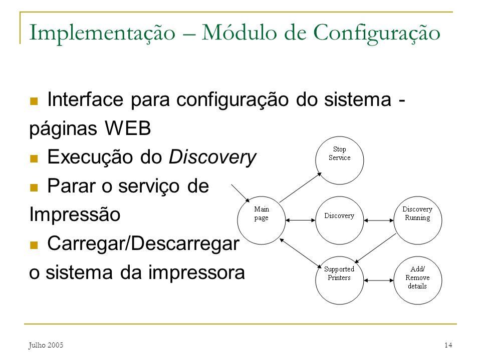 Julho 200514 Implementação – Módulo de Configuração Interface para configuração do sistema - páginas WEB Execução do Discovery Parar o serviço de Impr