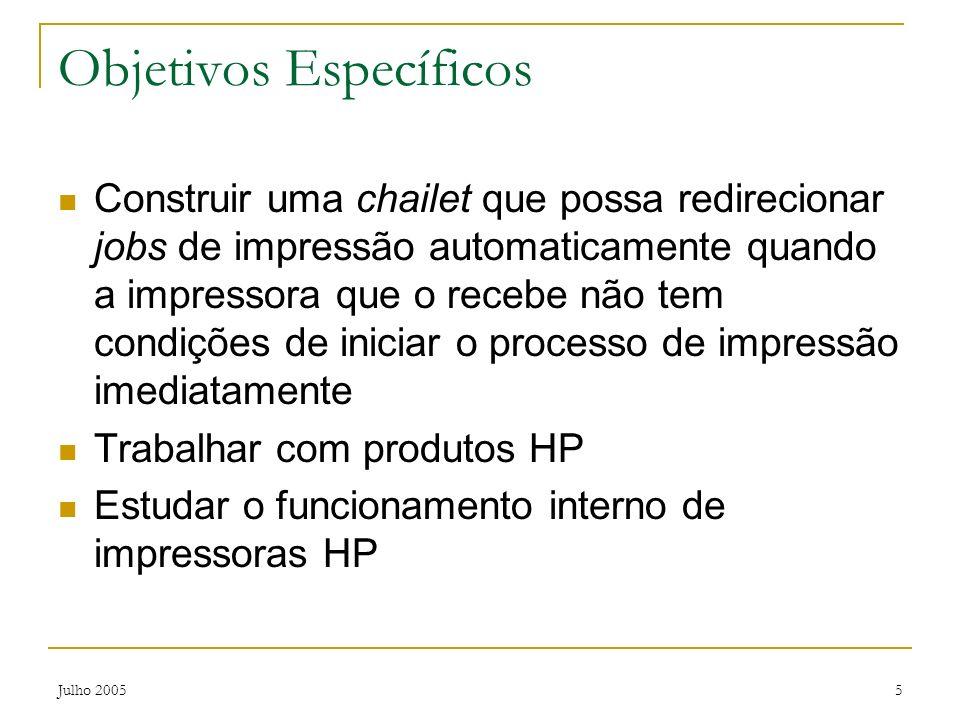 Julho 20055 Objetivos Específicos Construir uma chailet que possa redirecionar jobs de impressão automaticamente quando a impressora que o recebe não