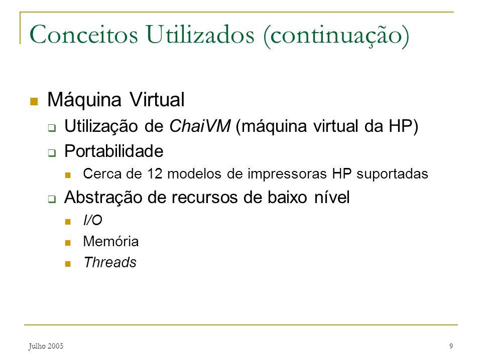 Julho 20059 Conceitos Utilizados (continuação) Máquina Virtual Utilização de ChaiVM (máquina virtual da HP) Portabilidade Cerca de 12 modelos de impre