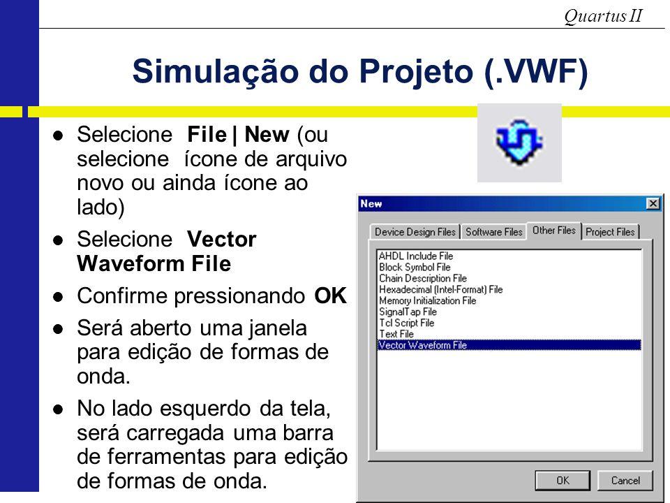 Quartus II Simulação do Projeto (.VWF) Selecione File | New (ou selecione ícone de arquivo novo ou ainda ícone ao lado) Selecione Vector Waveform File Confirme pressionando OK Será aberto uma janela para edição de formas de onda.