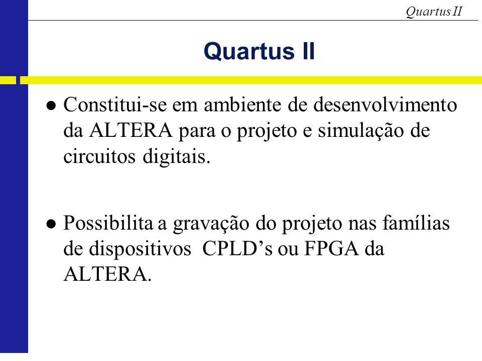 Quartus II Constitui-se em ambiente de desenvolvimento da ALTERA para o projeto e simulação de circuitos digitais.
