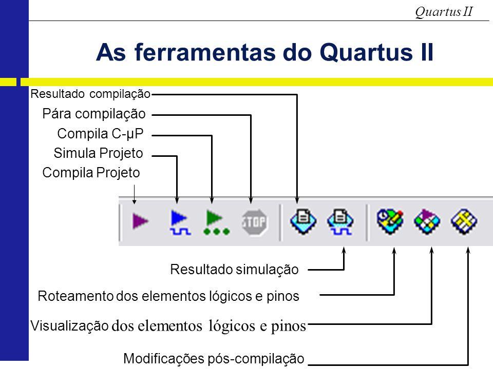 Quartus II As ferramentas do Quartus II Compila Projeto Simula Projeto Compila C-µP Pára compilação Resultado compilação Roteamento dos elementos lógicos e pinos Visualização dos elementos lógicos e pinos Modificações pós-compilação Resultado simulação