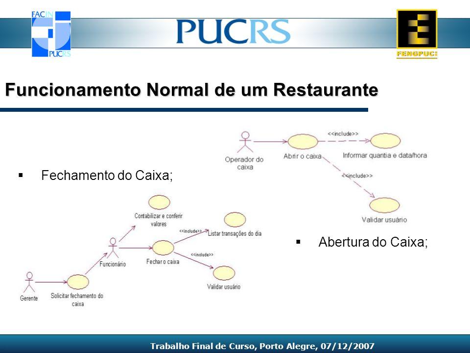 Abertura do Caixa; Funcionamento Normal de um Restaurante Trabalho Final de Curso, Porto Alegre, 07/12/2007 Fechamento do Caixa;