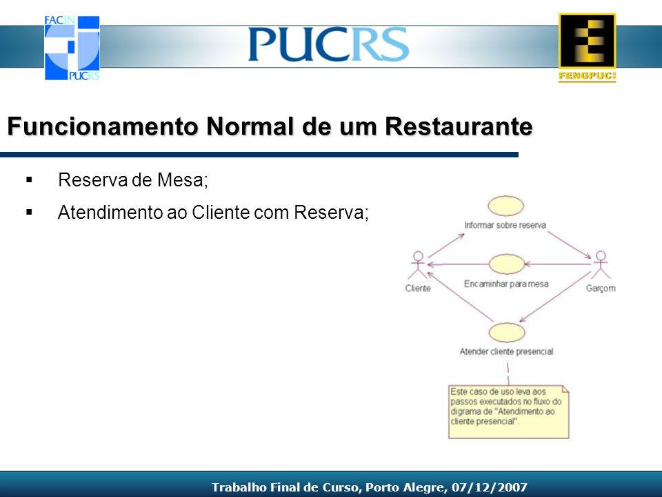 Reserva de Mesa; Atendimento ao Cliente com Reserva; Funcionamento Normal de um Restaurante Trabalho Final de Curso, Porto Alegre, 07/12/2007