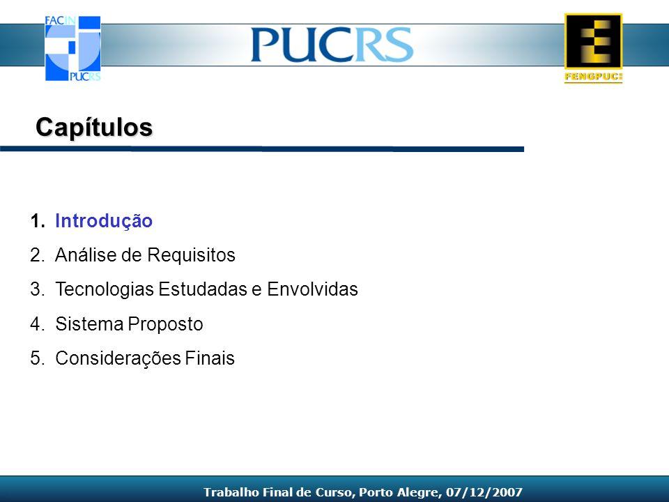 1.Introdução 2.Análise de Requisitos 3.Tecnologias Estudadas e Envolvidas 4.Sistema Proposto 5.Considerações Finais Capítulos Trabalho Final de Curso,