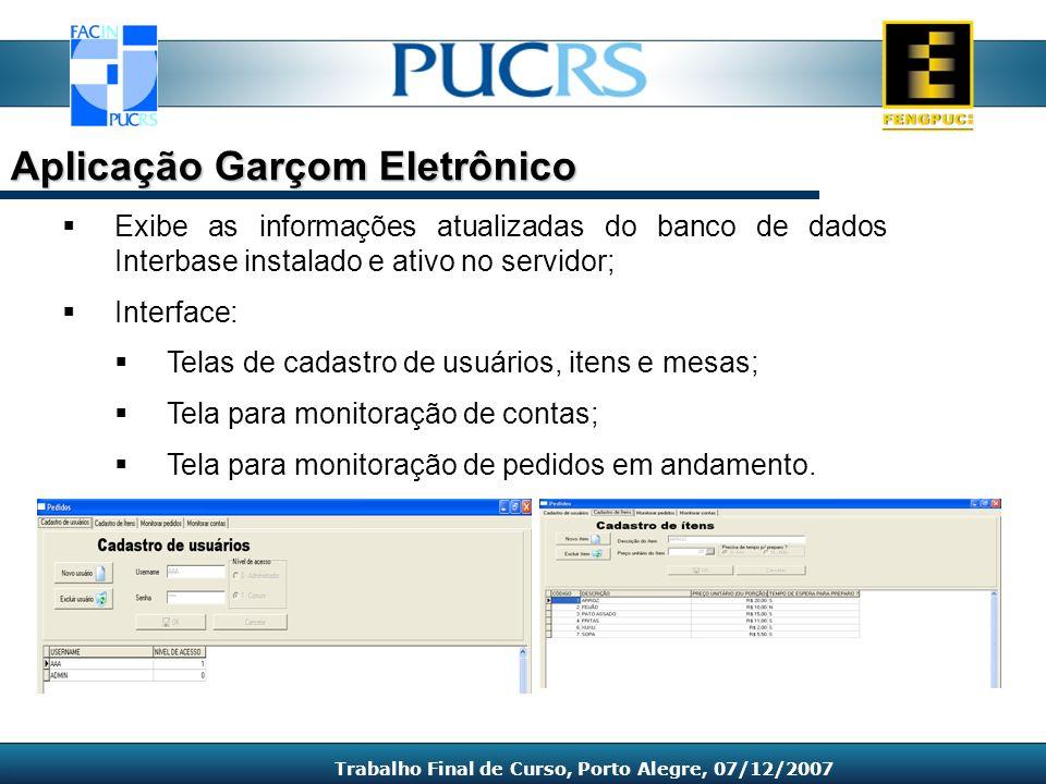 Exibe as informações atualizadas do banco de dados Interbase instalado e ativo no servidor; Interface: Telas de cadastro de usuários, itens e mesas; T