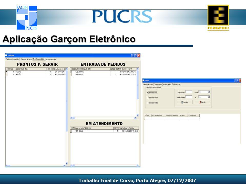 Aplicação Garçom Eletrônico Trabalho Final de Curso, Porto Alegre, 07/12/2007