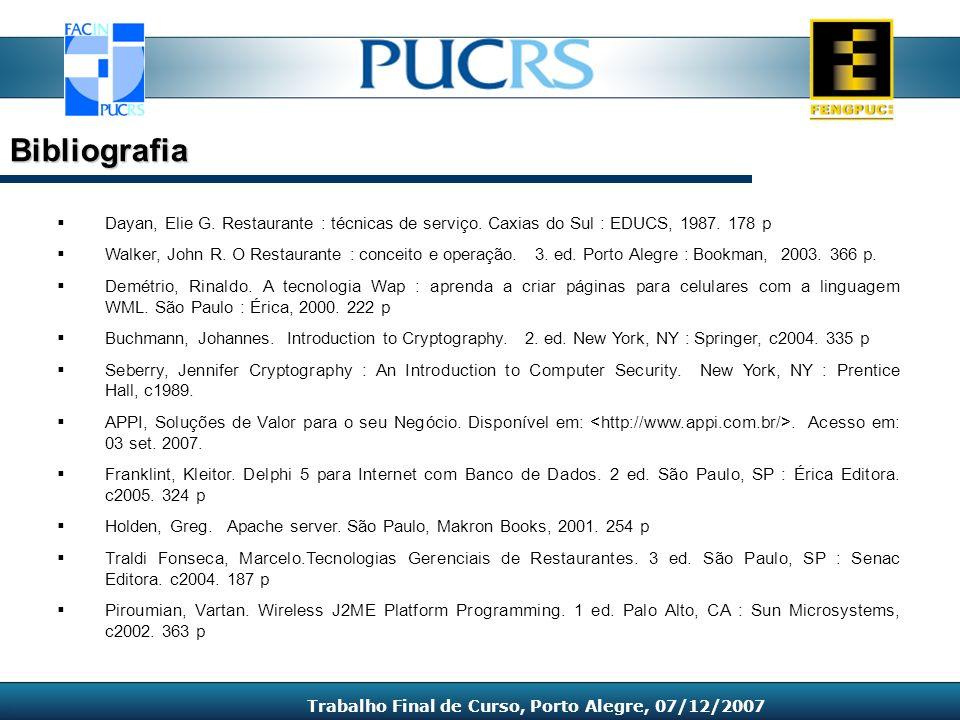 Dayan, Elie G. Restaurante : técnicas de serviço. Caxias do Sul : EDUCS, 1987. 178 p Walker, John R. O Restaurante : conceito e operação. 3. ed. Porto