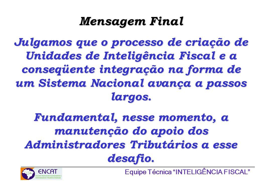 Equipe Técnica INTELIGÊNCIA FISCAL Julgamos que o processo de criação de Unidades de Inteligência Fiscal e a conseqüente integração na forma de um Sis