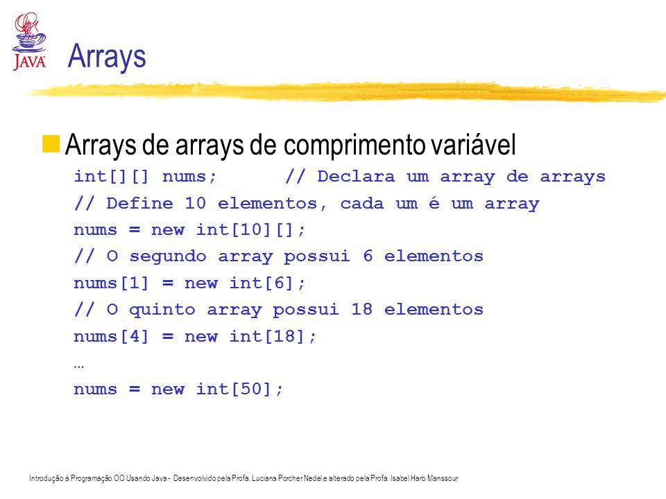 Introdução à Programação OO Usando Java - Desenvolvido pela Profa. Luciana Porcher Nedel e alterado pela Profa. Isabel Harb Manssour Arrays Arrays de