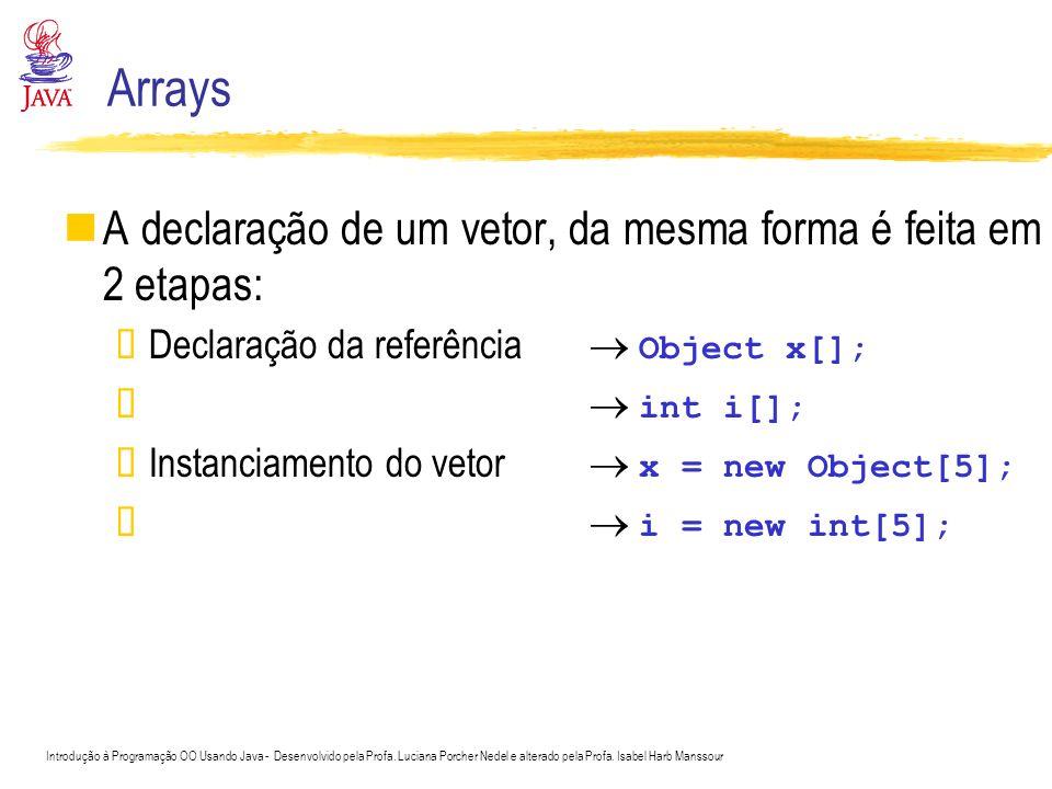 Arrays Passagem de parâmetros para métodos por valor: passa uma cópia do argumento por referência: passa o argumento original Em Java, não se pode escolher Tipos de dados primitivos são passados por valor Objetos são passados por referência §Os objetos originais podem ser alterados dentro do método Arrays em Java são tratados como objetos §Passados por referência