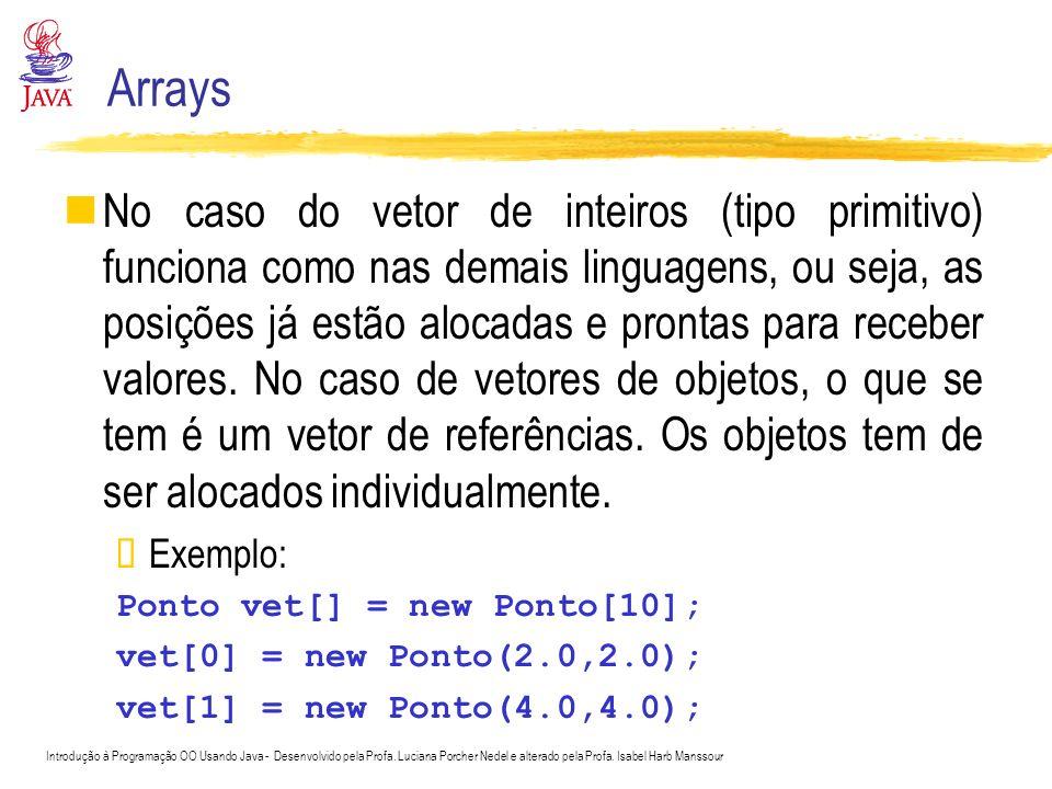 Introdução à Programação OO Usando Java - Desenvolvido pela Profa. Luciana Porcher Nedel e alterado pela Profa. Isabel Harb Manssour Arrays No caso do