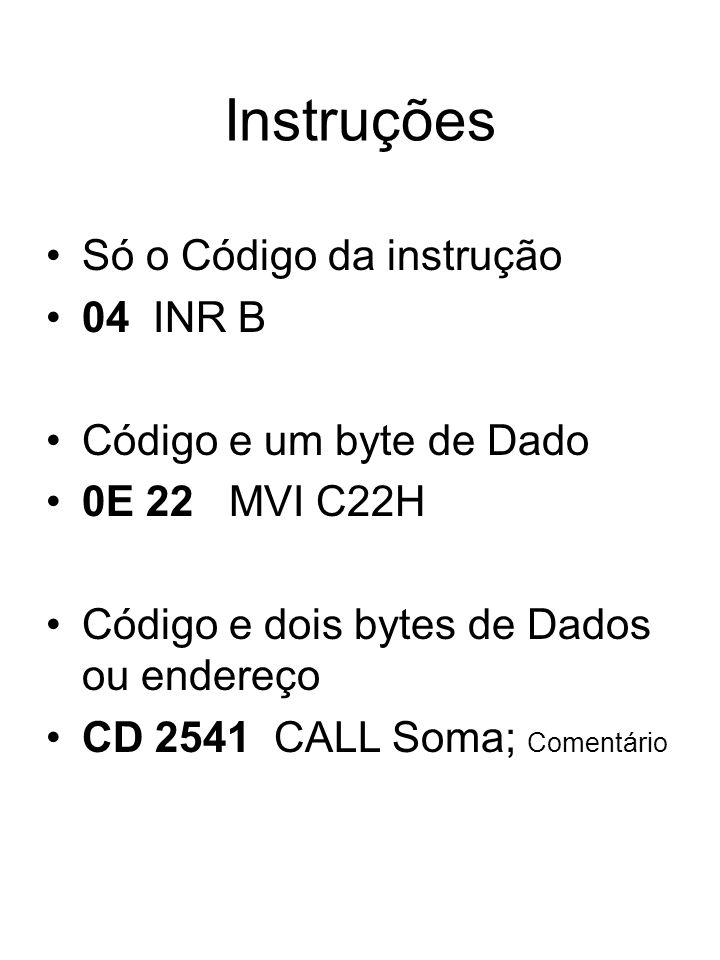 Instruções Só o Código da instrução 04 INR B Código e um byte de Dado 0E 22 MVI C22H Código e dois bytes de Dados ou endereço CD 2541 CALL Soma; Comen