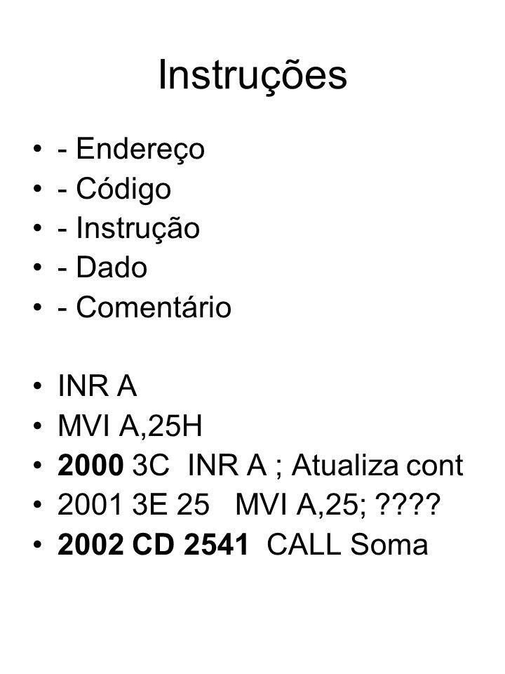 Instruções - Endereço - Código - Instrução - Dado - Comentário INR A MVI A,25H 2000 3C INR A ; Atualiza cont 2001 3E 25 MVI A,25; ???? 2002 CD 2541 CA