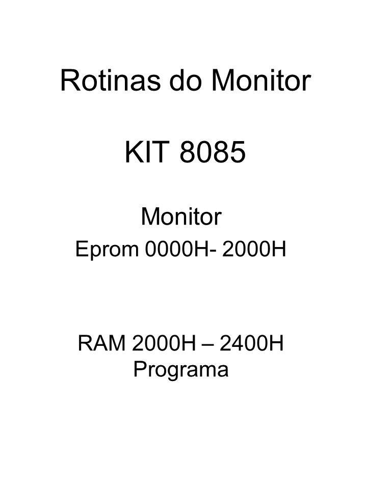 Rotinas do Monitor KIT 8085 Monitor Eprom 0000H- 2000H RAM 2000H – 2400H Programa