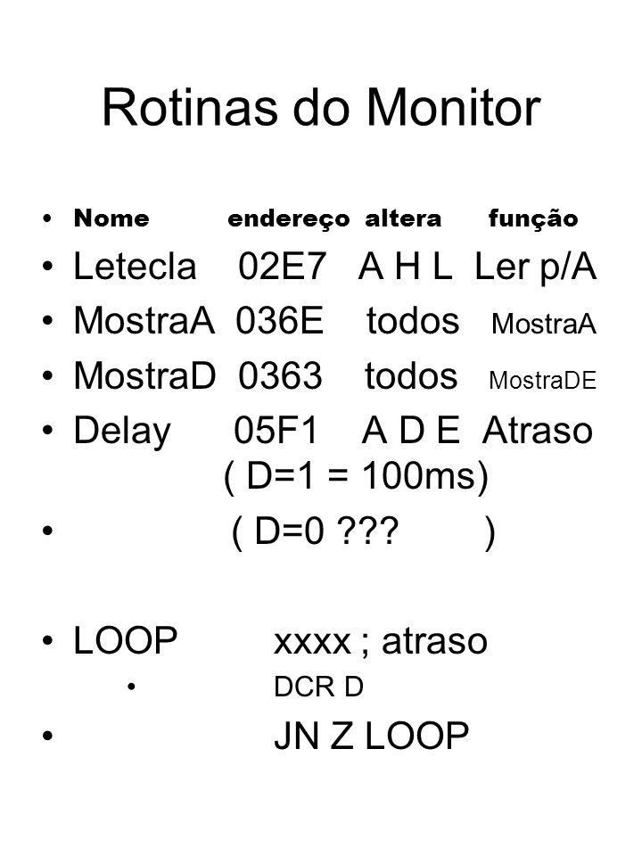 Rotinas do Monitor Nome endereço altera função Letecla 02E7 A H L Ler p/A MostraA 036E todos MostraA MostraD 0363 todos MostraDE Delay 05F1 A D E Atra