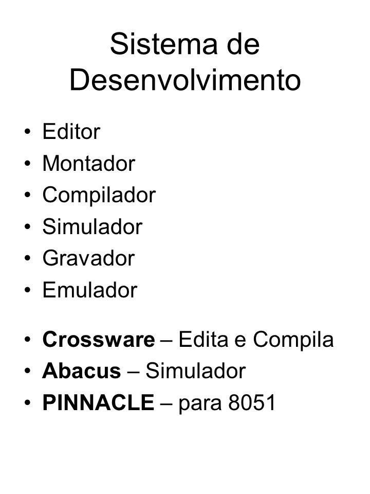 Sistema de Desenvolvimento Editor Montador Compilador Simulador Gravador Emulador Crossware – Edita e Compila Abacus – Simulador PINNACLE – para 8051