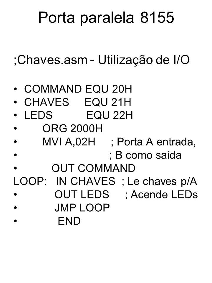Porta paralela 8155 ;Chaves.asm - Utilização de I/O COMMAND EQU 20H CHAVES EQU 21H LEDS EQU 22H ORG 2000H MVI A,02H ; Porta A entrada, ; B como saída