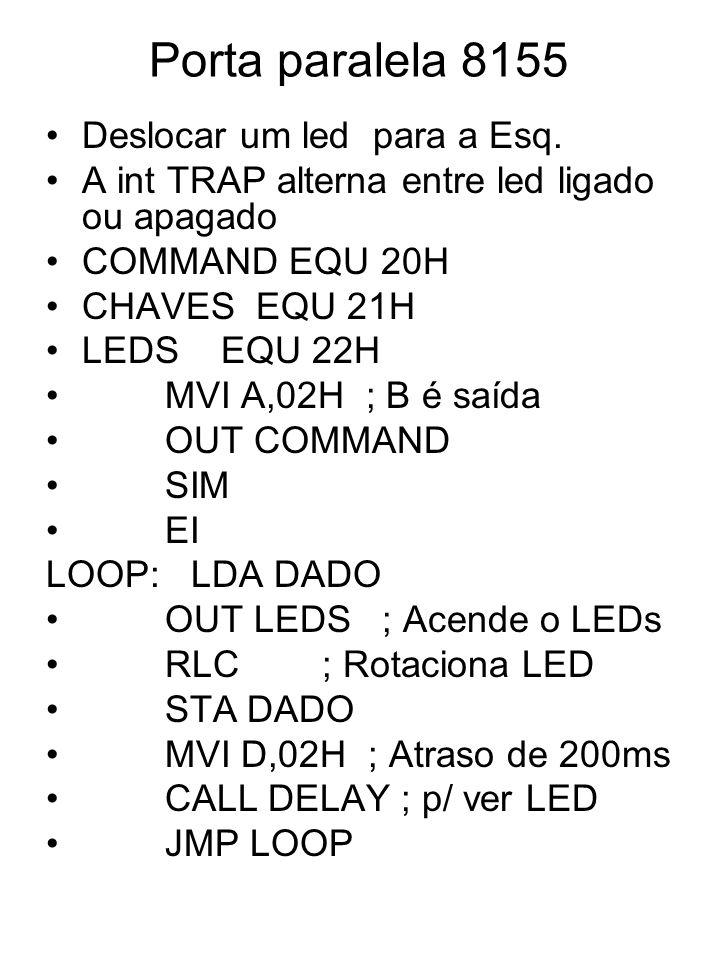 Porta paralela 8155 Deslocar um led para a Esq. A int TRAP alterna entre led ligado ou apagado COMMAND EQU 20H CHAVES EQU 21H LEDS EQU 22H MVI A,02H ;