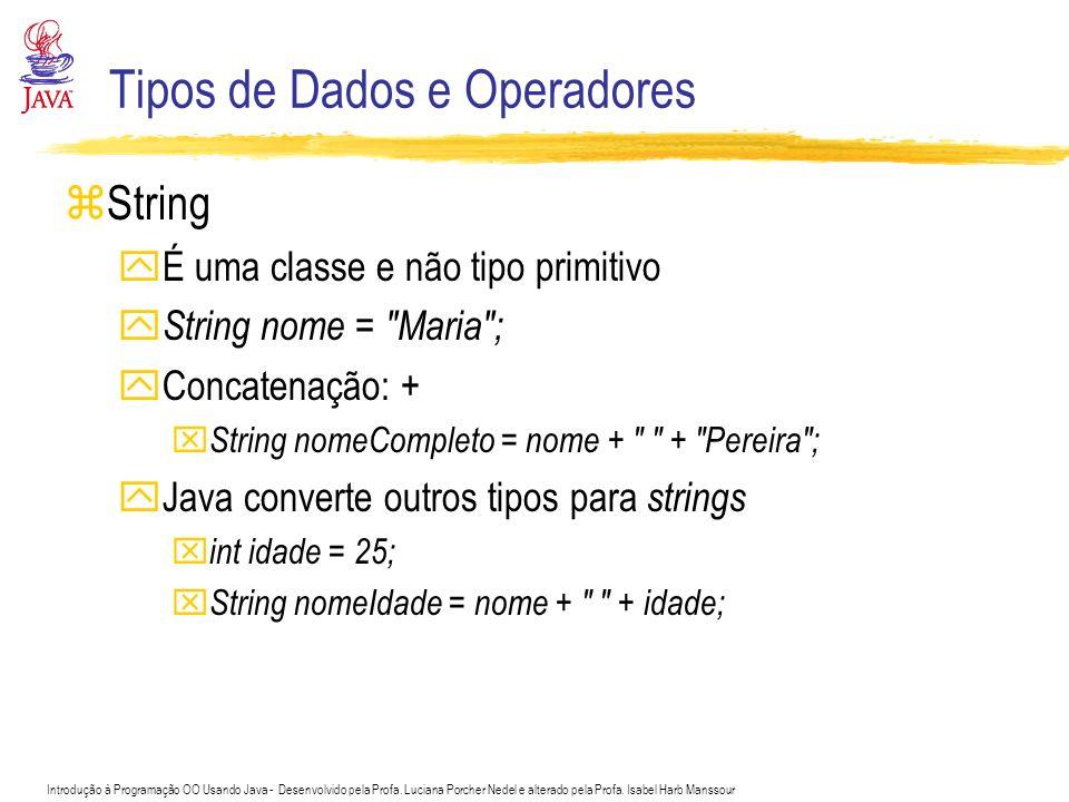 Introdução à Programação OO Usando Java - Desenvolvido pela Profa. Luciana Porcher Nedel e alterado pela Profa. Isabel Harb Manssour Tipos de Dados e