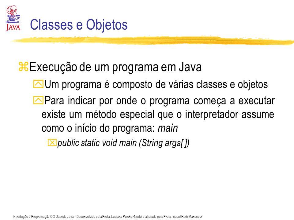Introdução à Programação OO Usando Java - Desenvolvido pela Profa. Luciana Porcher Nedel e alterado pela Profa. Isabel Harb Manssour Classes e Objetos