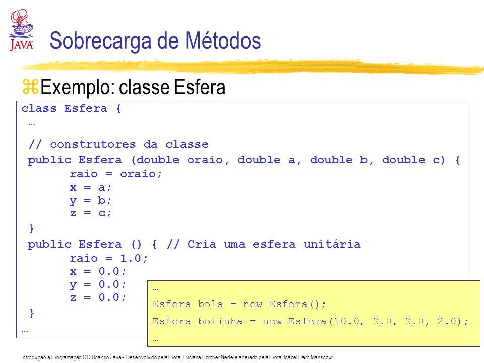 Introdução à Programação OO Usando Java - Desenvolvido pela Profa. Luciana Porcher Nedel e alterado pela Profa. Isabel Harb Manssour Sobrecarga de Mét