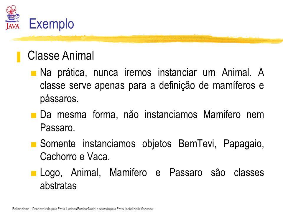 Polimorfismo - Desenvolvido pela Profa. Luciana Porcher Nedel e alterado pela Profa. Isabel Harb Manssour Exemplo Classe Animal Na prática, nunca irem