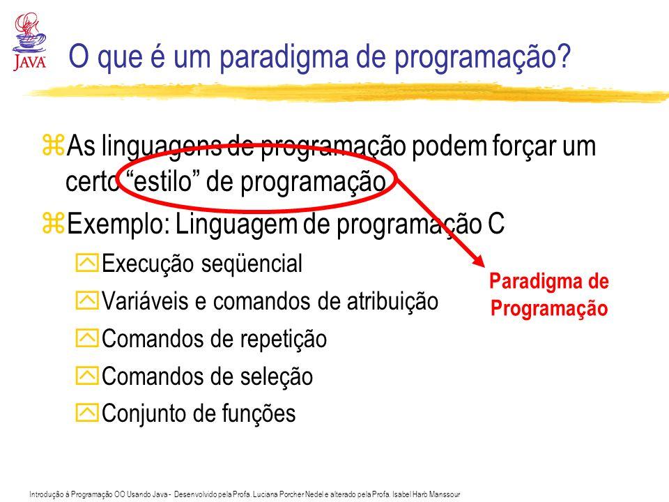 Introdução à Programação OO Usando Java - Desenvolvido pela Profa. Luciana Porcher Nedel e alterado pela Profa. Isabel Harb Manssour O que é um paradi