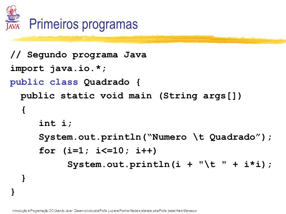 Introdução à Programação OO Usando Java - Desenvolvido pela Profa. Luciana Porcher Nedel e alterado pela Profa. Isabel Harb Manssour Primeiros program