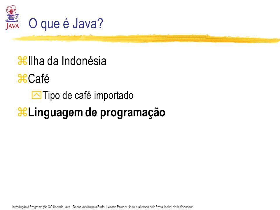 Introdução à Programação OO Usando Java - Desenvolvido pela Profa. Luciana Porcher Nedel e alterado pela Profa. Isabel Harb Manssour O que é Java? zIl