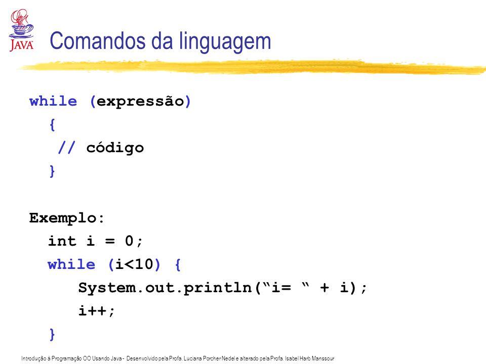 Introdução à Programação OO Usando Java - Desenvolvido pela Profa. Luciana Porcher Nedel e alterado pela Profa. Isabel Harb Manssour Comandos da lingu
